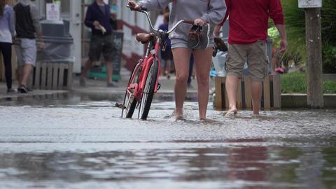 People being evacuated from flood Footage