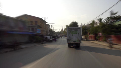 The streets of Mandalay, Burma, view from car Footage