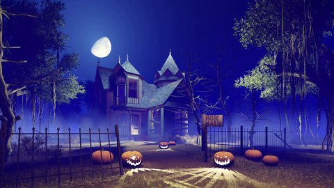 Halloween haunted house at misty night with big moon Footage
