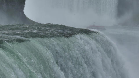 Slowmotion Close Up of Niagara Waterfalls. Poweful Falls on Canada USA Border Live Action