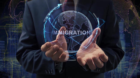 Male hands activate hologram Immigration Live Action