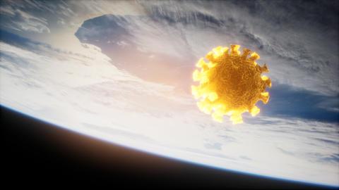 Coronavirus COVID-19 on the Earth orbit Live Action