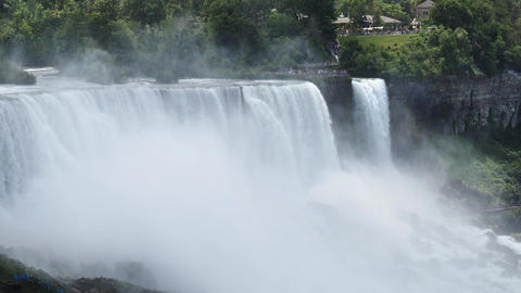 Cinematic Slowmotion View of Niagara Falls and Mist, USA Canada Border Live Action
