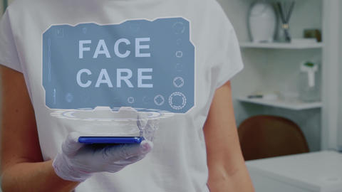 Doctor with hologram Face Care Live Action