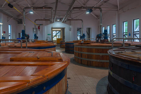 View of the fermentation tanks in the Talisker distillery Photo