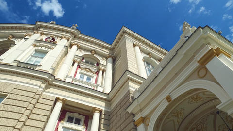 Exterior of Odessa Opera and Ballet National Academic Theater Building, Ukraine Live Action