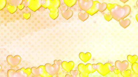 黄色キラキラハート 流れ 水玉背景 ループ CG動画