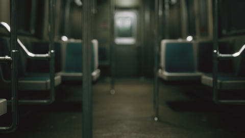subway car in USA empty because of the coronavirus covid-19 epidemic Live Action