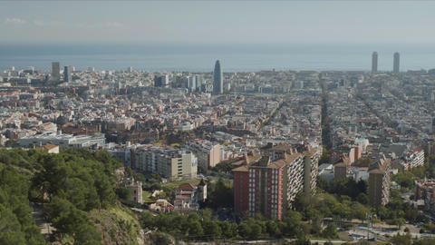 Aerial view of Barcelona city, Spain.Panoramic view of city buildings at daytime Live Action
