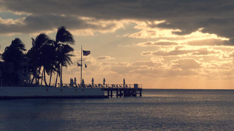 Sunset over the sea at Key West, Florida Live Action