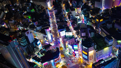 A night timelapse of the neon town in Shibuya crossing high angle wide shot Live Action