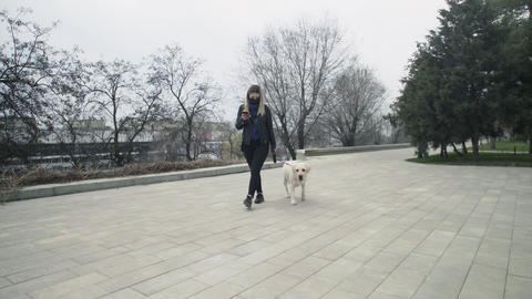 Woman with black mask walks with her labrador dog in the park during the Live Action