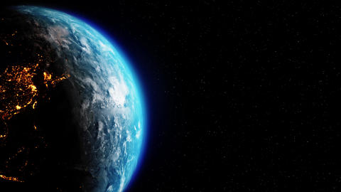 Sun Above Planet Earth View From Space Earth orbit 4k Loop Animation Live Action