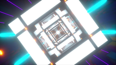 Computer generated technology neon tunnel. Teleport in the future. 3d rendering Live Action