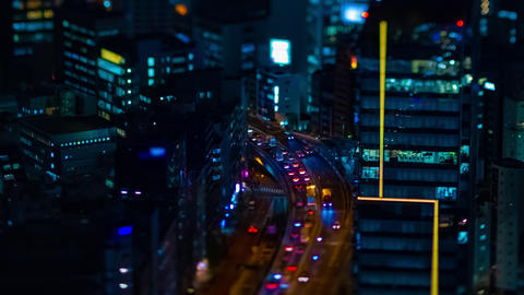 A night timelapse of the miniature highway at the urban city in Tokyo high angle Live Action