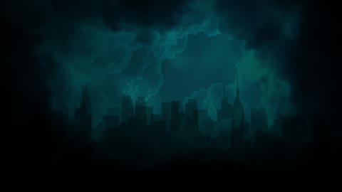 Cinematic background with cloud, rain and city and motion camera Animation