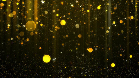Abstract gold shining light and bokeh particles motion background looped Animation