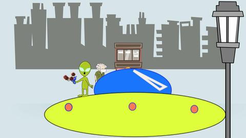 Space Alien Fighting Virus in City (Loop) Animation