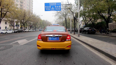 Timelapse car POV driving on the road during grey weather pollution day. Beijing Live Action
