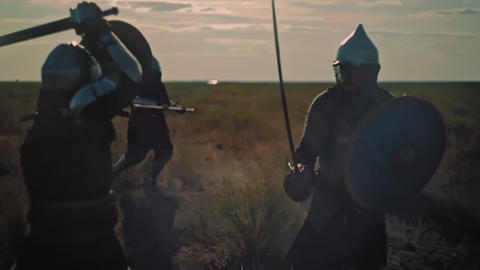 ASTANA, KAZAKHSTAN - MAY 8, 2017: Historical battle of two war teams with spear Live Action