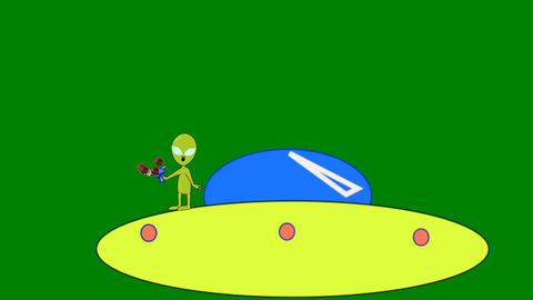 Space Alien Fighting Virus (Loop): Green Screen + Matte Animation