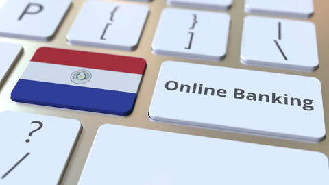 Online Banking text and flag of Paraguay on the keyboard. Internet finance Live Action