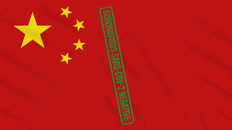 China swaying flag with a green stamp of freedom from coronavirus, loop Animation