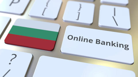Online Banking text and flag of Bulgaria on the keyboard. Internet finance Live Action