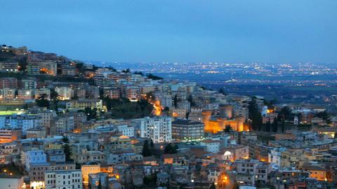 Evening view of Tivoli. Italy Footage