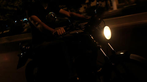 Closeup Guy in Helmet Speeds on Motorcycle along Asphalt Road Live Action