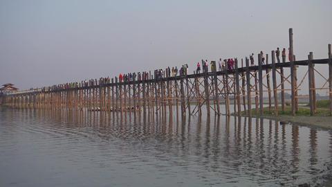Famous U-Bein teak bridge, Mandalay, Myanmar Footage