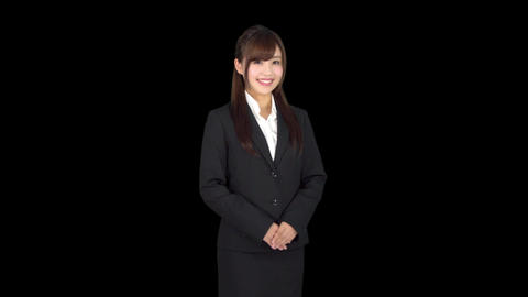 Happy young Japanese business woman smiling Footage