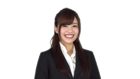 Young Japanese business woman smiling Footage