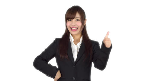 Young Japanese business woman good sign Footage