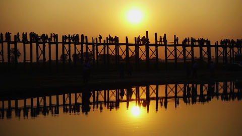 Famous U-Bein teak bridge at sunset, Mandalay Footage