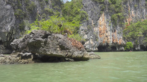 Kayaking between the rocks and caves in Thailand Footage