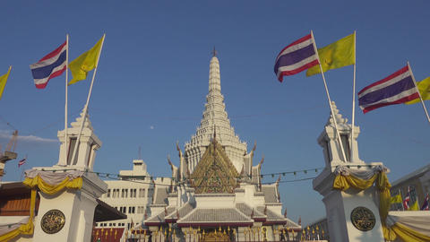Lak Muang temple and flags in Bangkok, Thailand Footage