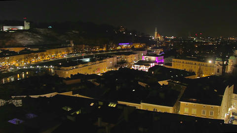 Timelapse of Salzburg, nightlife in big tourist city in Austria Footage