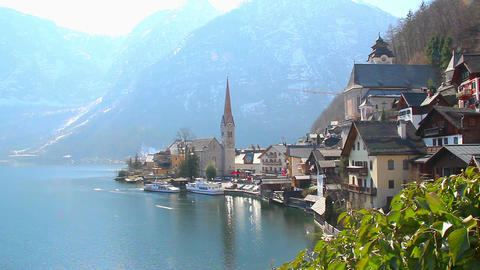 Hallstatt village in Austria, popular among tourists ski resort Footage