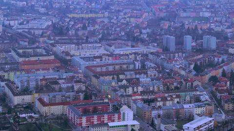Aerial shot of evening megalopolis, intensive traffic time lapse Footage