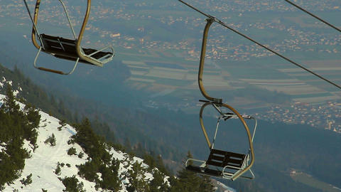 Abandoned cable way, off-season at skiing resort, tourism crisis Footage