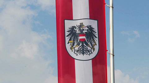 Austrian flag with emblem waving in wind, blue sky background Footage