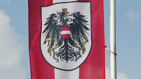 Austrian flag with coat of arms waving in wind, sky background Footage