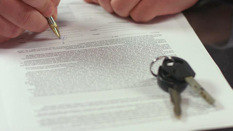 Man signing document, concluding rent agreement, guy buying car Footage