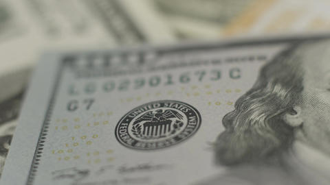 United States paper money, new one hundred dollar bill closeup Footage