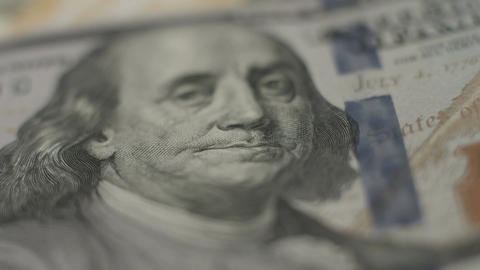 Benjamin Franklin, one hundred dollar note closeup, money, bank Footage