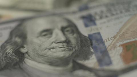 Close look at U.S. one hundred-dollar note, American paper money Footage