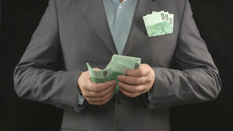 Male hands counting euros. Money, wealth, investment, business Footage