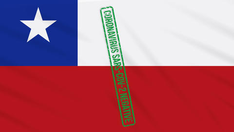 Chile swaying flag with a green stamp of freedom from coronavirus, loop Animation