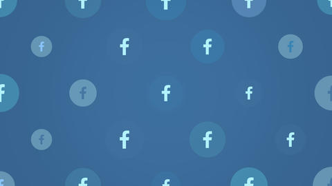 Motion icons of Facebook social network on simple background Animation
